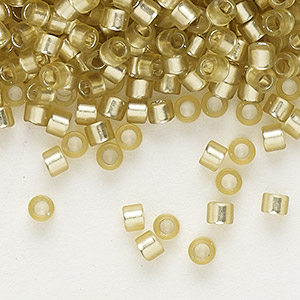 seed bead, delica, glass, silver-lined frosted jonquil, (db686), #11 round. sold per 250-gram pkg.
