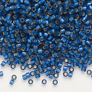 seed bead, delica, glass, silver-lined frosted medium blue, (db693), #11 round. sold per 7.5-gram pkg.