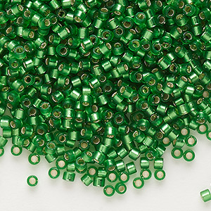 seed bead, delica, glass, silver-lined frosted medium green, (db688), #11 round. sold per 7.5-gram pkg.