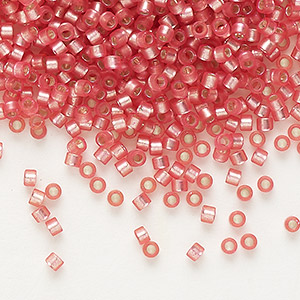 seed bead, delica, glass, silver-lined frosted medium rose, (db684), #11 round. sold per 7.5-gram pkg.