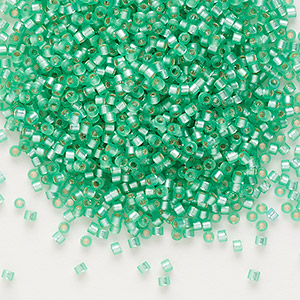 seed bead, delica, glass, silver-lined frosted mint green, (db691), #11 round. sold per 250-gram pkg.