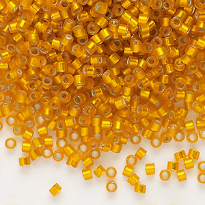 seed bead, delica, glass, silver-lined frosted squash, (db681), #11 round. sold per 50-gram pkg.