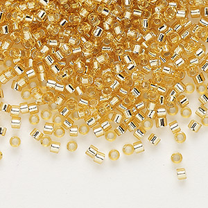seed bead, delica, glass, silver-lined gold, (db42), #11 round. sold per 7.5-gram pkg.