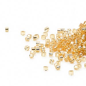 seed bead, delica, glass, silver-lined gold, (db42cut), #11 cut. sold per 50-gram pkg.