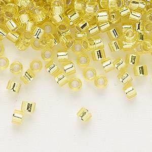 seed bead, delica, glass, silver-lined lemon, (db145), #11 round. sold per pkg of 250 grams.