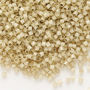seed bead, delica, glass, silver-lined opal tan, (db1458), #11 round. sold per pkg of 250 grams.