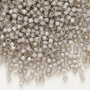 seed bead, delica, glass, silver-lined opal taupe, (db1456), #11 round. sold per 7.5-gram pkg.