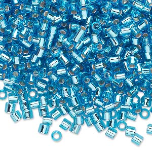 seed bead, delica, glass, silver-lined transparent aqua blue, (dbl44), #8 round, 1.5mm hole. sold per 50-gram pkg.