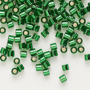 seed bead, delica, glass, silver-lined transparent green, (dbl46), #8 round, 1.5mm hole. sold per 250-gram pkg.