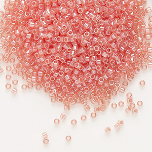 seed bead, delica, glass, translucent luster dark coral, (db1481), #11 round. sold per 7.5-gram pkg.