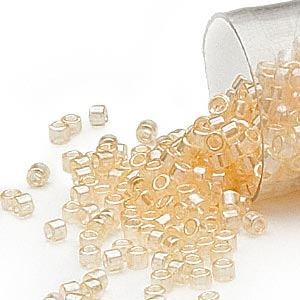 seed bead, delica, glass, translucent luster lemon pearl, (db1478), #11 round. sold per 7.5-gram pkg.