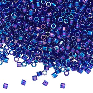 seed bead, delica, glass, transparent cobalt rainbow, (dbl178), #8 round, 1.5mm hole. sold per 7.5-gram pkg.