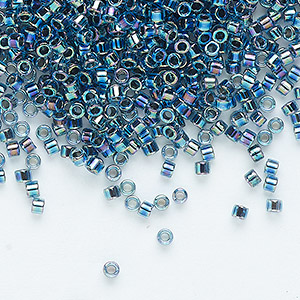 seed bead, delica, glass, transparent color-lined rainbow dark blue, (dbc-0085), #11 cut. sold per 250-gram pkg.