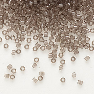 seed bead, delica, glass, transparent crystal charcoal, (db1417), #11 round. sold per 50-gram pkg.