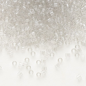 seed bead, delica, glass, transparent crystal grey ice, (db1408), #11 round. sold per 50-gram pkg.