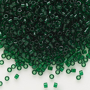 seed bead, delica, glass, transparent emerald green, (db713), #11 round. sold per 50-gram pkg.