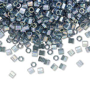 seed bead, delica, glass, transparent glazed luster rainbow light grey, (dblc-0111), #8 cut. sold per 250-gram pkg.