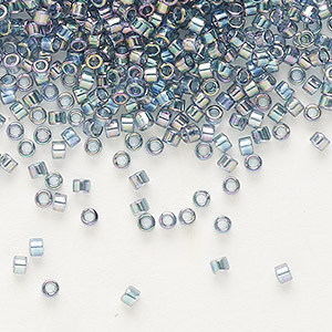seed bead, delica, glass, transparent glazed luster rainbow light grey, (db111), #11 round. sold per 50-gram pkg.