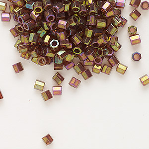 seed bead, delica, glass, transparent gold luster rainbow gold red, (dbl0103c), #8 cut. sold per 7.5-gram pkg.