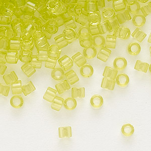 seed bead, delica, glass, transparent light daffodil, (db712), #11 round. sold per 7.5-gram pkg.