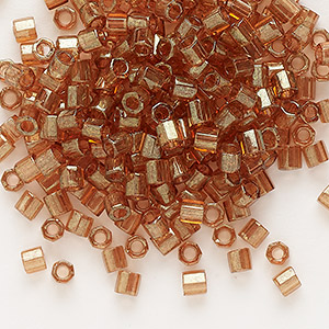 seed bead, delica, glass, transparent light topaz gold luster cocoa, (dblc0121), #8 cut. sold per 7.5-gram pkg.