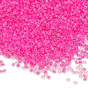 seed bead, delica, glass, transparent luminous pink, (db2035), #11 round. sold per 7.5-gram pkg.