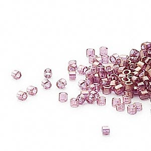seed bead, delica, glass, transparent luster amethyst purple, (db108cut), #11 cut. sold per 50-gram pkg.