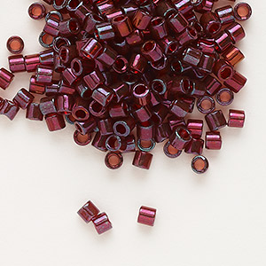 seed bead, delica, glass, transparent luster gold dark red, (dbl105), #8 round. sold per 7.5-gram pkg.
