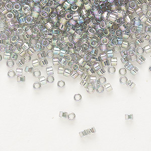 seed bead, delica, glass, transparent luster rainbow grey blue, (db107), #11 round. sold per 7.5-gram pkg.
