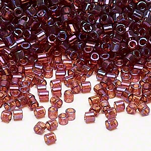 seed bead, delica, glass, transparent luster rainbow raspberry, (dbl104), #8 round. sold per 7.5-gram pkg.