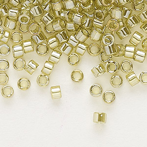seed bead, delica, glass, transparent luster yellow-green, (db124), #11 round. sold per 50-gram pkg.