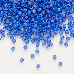 seed bead, delica, glass, transparent matte rainbow blueberry, (db864), #11 round. sold per 7.5-gram pkg.