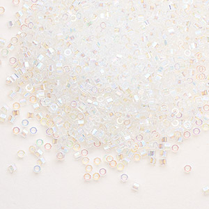 seed bead, delica, glass, transparent rainbow crystal, (dbc-0051), #11 cut. sold per 250-gram pkg.