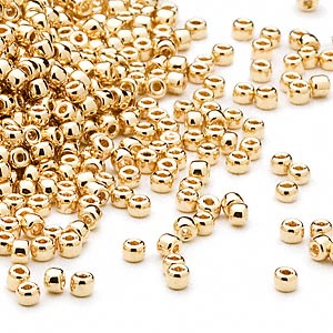 seed bead, dyna-mites™, glass, opaque 24kt gold-plated, #11 round. sold per 1/2 kilogram pkg.