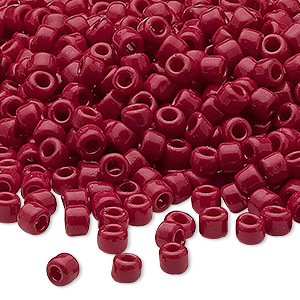 seed bead, dyna-mites™, glass, opaque brick red, #6 round. sold per 40-gram pkg.