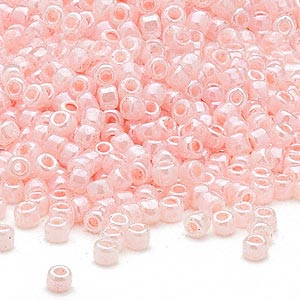 seed bead, dyna-mites™, glass, opaque ceylon pastel pink, #6 round. sold per 1/2 kilogram pkg.