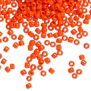 seed bead, dyna-mites™, glass, opaque dark orange, #8 round. sold per 1/2 kilogram pkg.