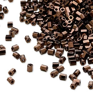 seed bead, dyna-mites™, glass, opaque iris bronze, #11 hex 2-cut. sold per 40-gram pkg.