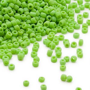 seed bead, dyna-mites™, glass, opaque matte lime green, #11 round. sold per 40-gram pkg.