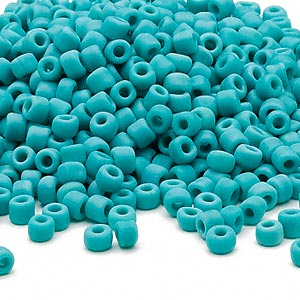 seed bead, dyna-mites™, glass, opaque matte turquoise blue, #6. sold per 40-gram pkg.