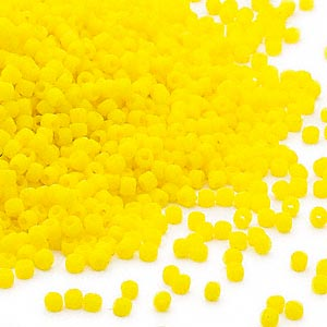 seed bead, dyna-mites™, glass, opaque matte yellow, #11 round. sold per 1/2 kilogram pkg.