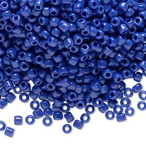 seed bead, dyna-mites™, glass, opaque medium blue, #8 round. sold per 1/2 kilogram pkg.