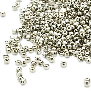 seed bead, dyna-mites™, glass, opaque nickel-finished, #11 round. sold per 40-gram pkg.