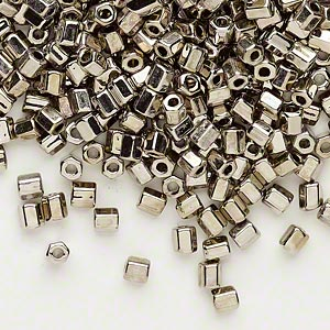seed bead, dyna-mites™, glass, opaque nickel-finished, #6 hex. sold per 1/2 kilogram pkg.