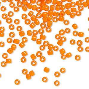 seed bead, dyna-mites™, glass, opaque orange, #8 round. sold per 1/2 kilogram pkg.