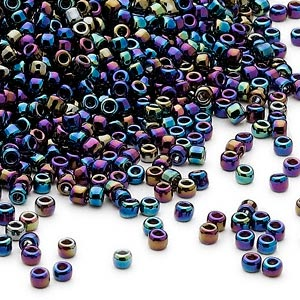 seed bead, dyna-mites™, glass, opaque rainbow iris, #11 round. sold per 40-gram pkg.