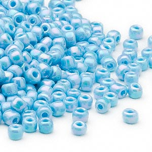 seed bead, dyna-mites™, glass, opaque rainbow light turquoise blue, #6 round. sold per 40-gram pkg.