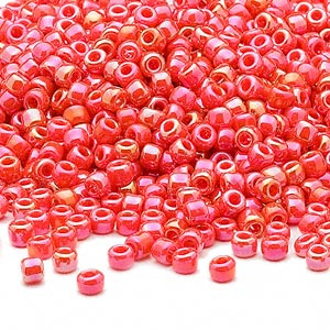 seed bead, dyna-mites™, glass, opaque rainbow orange, #8 round. sold per 40-gram pkg.