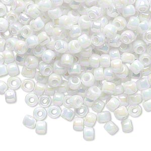 seed bead, dyna-mites™, glass, opaque rainbow white, #6 round. sold per 1/2 kilogram pkg.