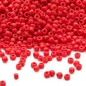 seed bead, dyna-mites™, glass, opaque red, #11 round. sold per 40-gram pkg.